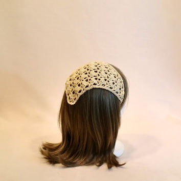 Beige Crochet Hair Kerchief - Boho Lace Head Bandana - Rockabilly Headband Head Scarf - Cream Hippie Hair Scarf