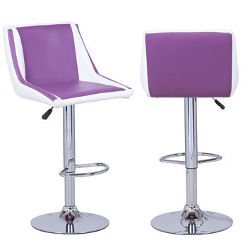 Adeco Purple/White Cushioned Leatherette Hydraulic Lift Adjustable Mid-Back Barstool Chair Chrome Finish Pedestal Base (Set of two)