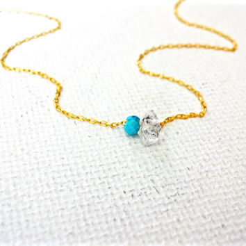 Natural Micro Herkimer Diamond and Turquoise 14k Gold Fill Chain Necklace; Free Formed Faceted Herkimer Diamond; Natural Quartz from NY USA
