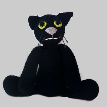 solid black cat plush, fiber art doll, crochet,  OOAK, eco-friendly, scented, amigurumi animal, wool stuffed, cotton