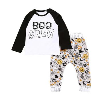 baby clothes overalls children's winter tracksuits for girls boys Letter Pumpkin T shirt Tops catton Pants Halloween costume