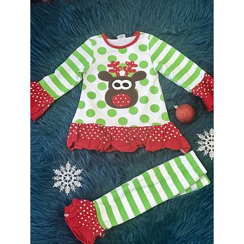 Christmas Polka Dot Rudolf Red Nose Reindeer Set