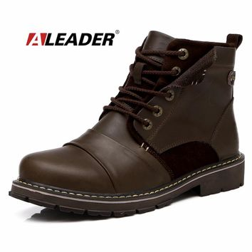 Fashion Mens Autumn Boots Waterproof Casual Genuine Leather Ankle Boots for Man Western Work Boots Men Shoes Botas