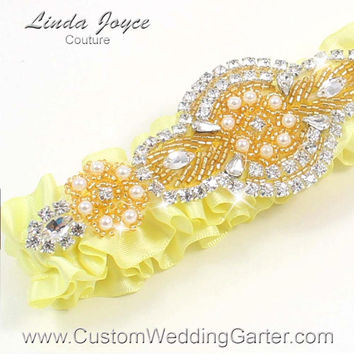 Light Yellow and Gold Vintage Wedding Garter Rhinestone 617 Baby Maize Custom Luxury Prom Garter Plus Size & Queen Size Available
