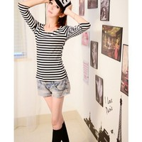 3/4 Sleeve Scoop Women Black Stripe Autumn New Style Korean Style Cotton T-shirt One Size @WH0389b $7.99 only in eFexcity.com.