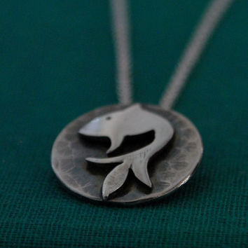 $78.00 Koi Fish Necklace handmade in sterling silver by kathryncole