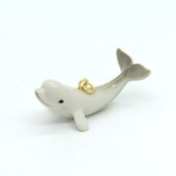 1 - Porcelain Beluga Whale Pendant Hand Painted Glaze Ceramic Animal Small Ceramic Whale Bead Jewelry Supplies Little Critterz Porcelain