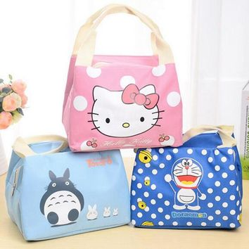 New 2016 Portable  Cartoon Cute Hello Kitty Lunch Bag Insulated Cold Canvas  Picnic Totes Carry Case For Kids Women Thermal Bag
