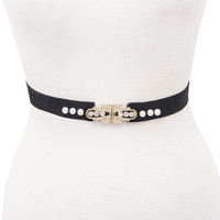 Pearl and Black Velvet Belt | VidaKush