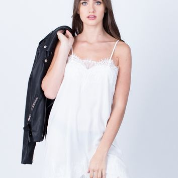 Satin Lace Slip Dress