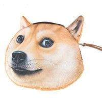Brown Dog Face Coin Purse