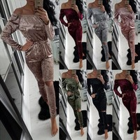 S-2XL Women Sexy Off Shoulder Jumpsuit Fashion Casual Slim Velvet Bodysuit 2016 Autumn Winter Long Sleeve Women Elegant Bodysuit