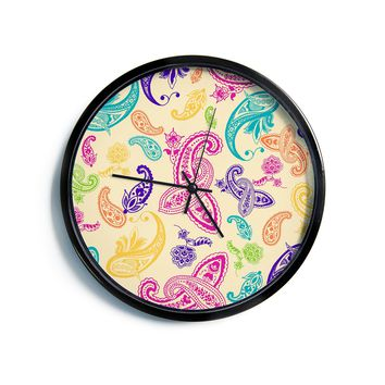 "Emine Ortega ""Namaste"" Floral Abstract Modern Wall Clock"