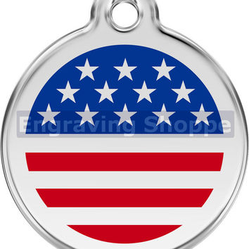 Stars & Stripes Enamel and Stainless Steel Personalized Custom Pet Tag with LIFETIME GUARANTEE ID Tag Dog Tags and Cat Tags Free Engraving