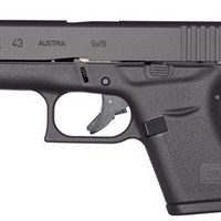 "Glock 43 Single Stack Pistol PI4350201, 9mm, 3.39"", Black Synthetic Grips, Black Finish, 6 Rd"
