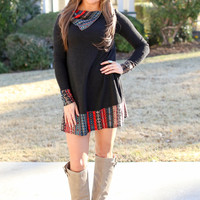 Festive and Fun Sweatshirt Dress - Black