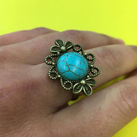 Adjustable, Ring, Boho, Bronze, Flower, Turquoise, Healing, Stone, Bohemian, Western, Woodland, Spiritual, Pretty, Hippie, Gypsy, Chic, Gift