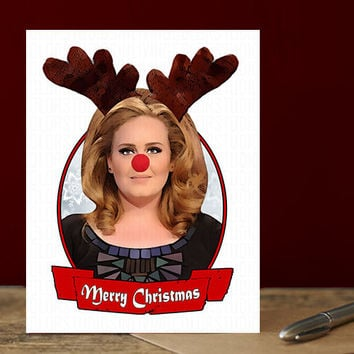 Funny Adele Card - Hello Its Me - Funny Christmas Card - Personalized - Seasons Greetings - Cards For Men  - Boyfriend Gift - Christmas Card
