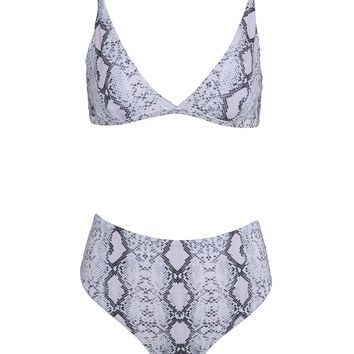 Shot of Poison Snake Print Two-Piece Swimsuit