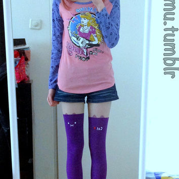 Purple Cute Cat Knee High Hosiery Pantyhose Tattoo Socks Leggings Tights Stockings Kawaii