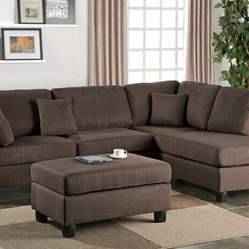 Poundex F7608 3 pc martinique collection chocolate polyfiber fabric upholstered sectional sofa with reversible chaise and ottoman