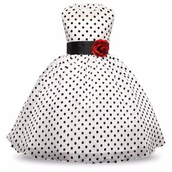 New Arrival 2017 Princess Summer Girl Dress Classic White Black Polka Dots Children Dancing Dresses For Little Girl Tutu Dresses