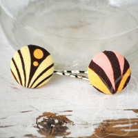 Art Deco fabric button bobby pins from VioletsBuds