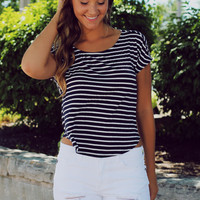 Smooth Sailing Top - Navy