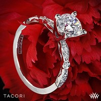 18k White Gold Tacori Sculpted Crescent Petite Diamond Engagement Ring