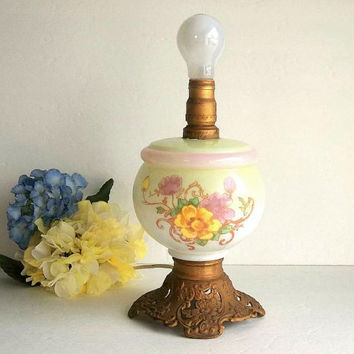 Antique Victorian Cottage Parlor Lamp Converted Oil Lamp Floral, electric Gone With the Wind lamp mint green, pink, yellow glass lamp light