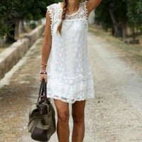 Boho Fringe Lace Dress - White