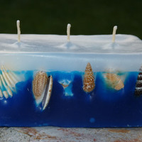 Unique Candle from paraffin wax in white and blue with sea shells. Handcrafted. Ecofriendly.