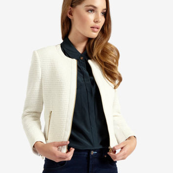 Textured cropped jacket - Cream | Jackets & Coats | Ted Baker
