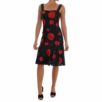 Dolce & Gabbana Black Red Polka Sequined Shift Dress