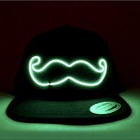 Mustache Light Up Snapback | EL Wire Light Up Hat | Rave Accessories