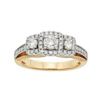 IGL Certified Diamond 3-Stone Halo Two Tone Engagement Ring in 14k Gold (1 Carat T.W.) (White)
