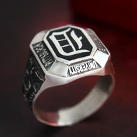 Vampire Diaries ring, Sterling Silver Ring, Free Engraving, Unique jewelry for men and women