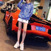 """""""Balenciaga"""" Women Fashion Print Logo Letter Hooded Embroidery Long Sleeve Pullover Sweater Hoodie Tops"""
