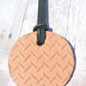 "Chevron - Terracotta Diffuser Necklace - Essential Oils - Black Faux Suede Cord - Large Terra Cotta Clay Pendant 2"" diameter"