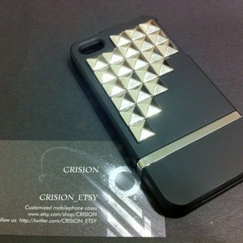 Iphone 4 / 4S studded black slide case / includes by CRISION