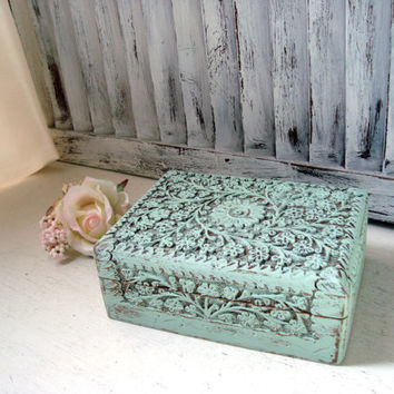 Mint Green Jewelry Box, Ornate Wooden Trinket Box, Small Storage Box, Gift Box, Light Green Carved Wooden Box, Shabby Chic, Gift Ideas