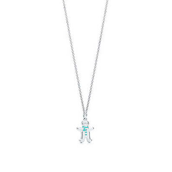 Tiffany & Co. - Gingerbread man charm in silver with Tiffany Blue® enamel finish on a chain.