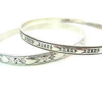Stacking Sterling Silver Bangle Bracelets. Danecraft Felch & Co Hearts, Flowers. Set of Two. Vintage 1940s Fashion Jewelry. Engagement