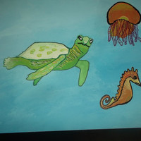 Ocean Sea Turtle Sea Horse and Tangled Jellyfish Acrylic Painting Nursery Bathroom Art Free Shipping