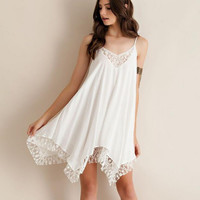 White Halter Strap Lace Inlay Dress
