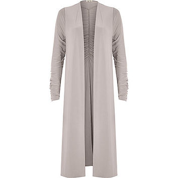 Light grey ruched longline duster jacket