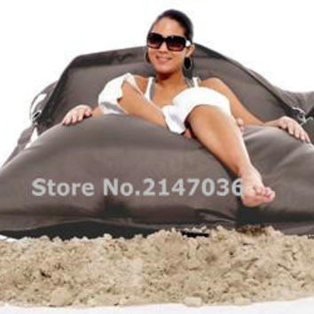 Grey color outdoor buggle up bean bag chair, sand external beanbags lounge, waterproof  and dirt resistent