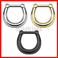 Plain Style 316L Surgical Steel Septum Clicker Ring 16g Earring Cartilage Piercing Tragus Ring Nose Septum Ring Gold - Sold by Piece