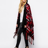 Eleven Paris Foncho Poncho with Fringing in Tartan Check at asos.com