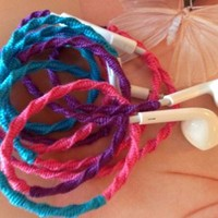Handmade Wrapped Tangle-Free Earbuds | Caribbean Sea| Genuine iPhone EarPods